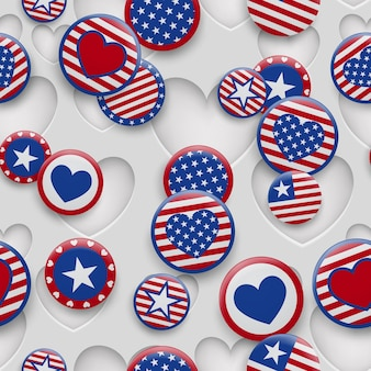 Vector seamless pattern of various usa symbols in red and blue colors on white background with holes. independence day united states of america