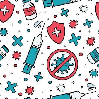 Vector seamless pattern of virus vaccine syringe for injection