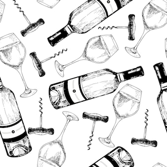 Vector seamless pattern of white wine