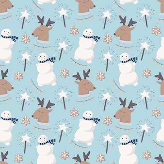 Бесшовный узор вектор. зимняя детская тема, забавные мультяшные снеговики и олени. украшен сверкающими звездами и печеньем. синий фон подходит для декора и оберточной бумаги.