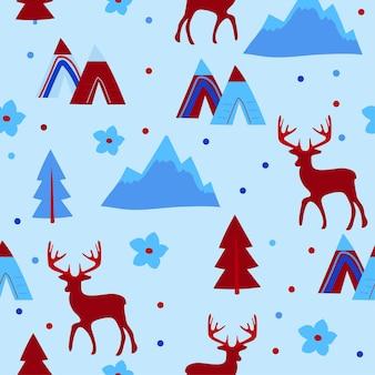 ベクトルのシームレスなパターン。鹿と森の木と冬の繰り返しテクスチャ。動物と青い包装紙。