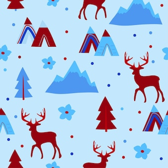 Vector seamless pattern. winter repeated texture with deer and forest tree. blue wrapping paper with animals.