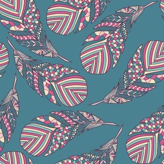 Бесшовный узор вектор с красивыми абстрактными перьями в стиле zenart