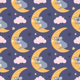 Бесшовный узор вектор с милой коалой на луне, которая тянется к звезде среди облаков