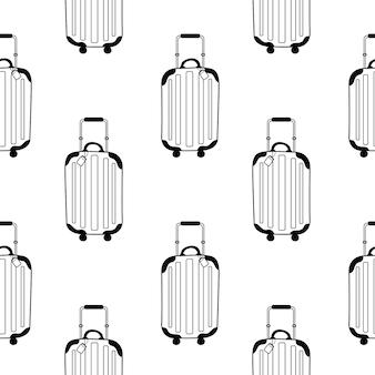 Вектор бесшовные модели с рисунком современного чемодана на колесиках в стиле каракули