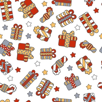 Vector seamless pattern with abstract gifts in holiday packaging and stars on a white background. for packaging design, covers, textile prints