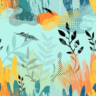 Vector seamless pattern with abstract plants, clouds and birds.