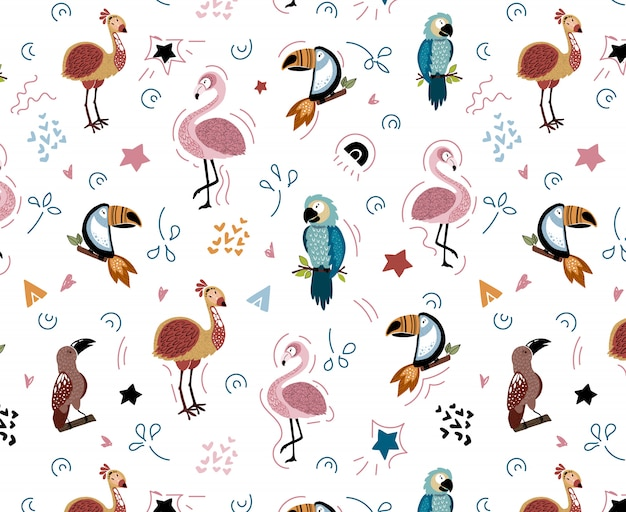 Vector seamless pattern with african birds