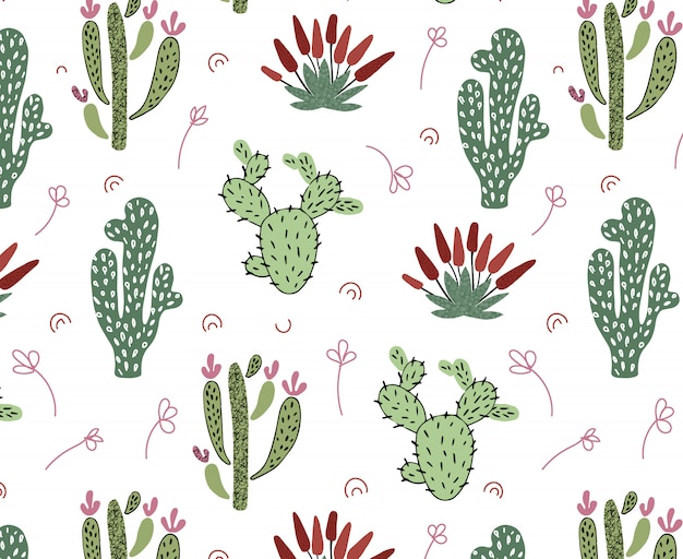 Vector seamless pattern with african tropical cacti