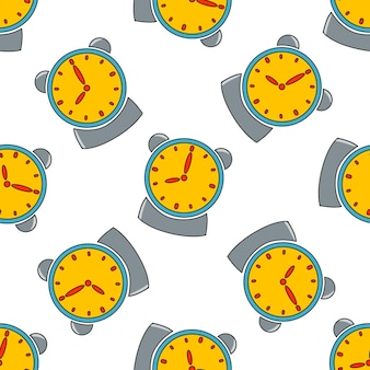 Vector seamless pattern with an alarm clock on a white background in the style of doodles