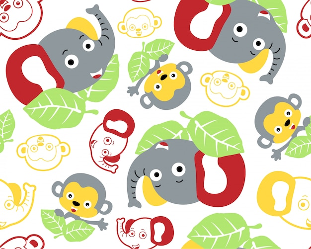 Vector seamless pattern with animals cartoon
