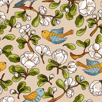 Vector seamless pattern with apple blossom and birds. beautiful hand drawn texture.
