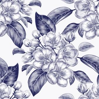 リンゴの花とのシームレスなパターンベクトル。