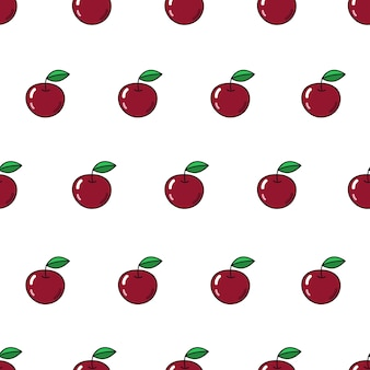 Vector seamless pattern with apples repeating fruit icon on white