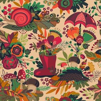 Бесшовный узор вектор с осенними букетами, осенью красивые яркие листья, цветы, ветки, ягоды, грибы. красочный бесконечный фон.