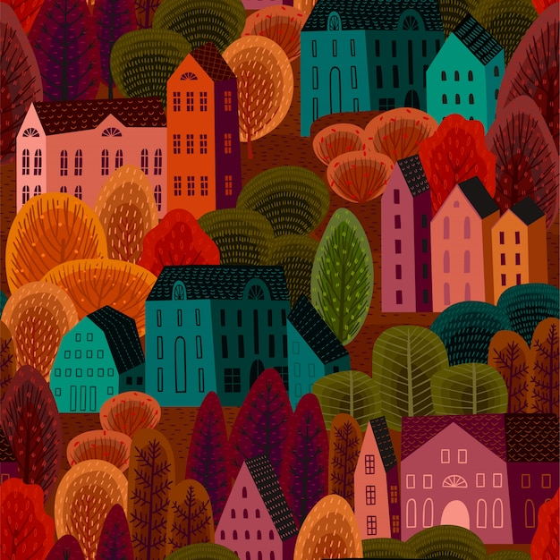 Vector seamless pattern with autumn city