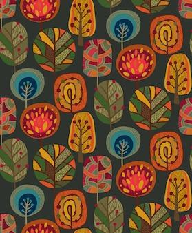 Бесшовный узор вектор с элементами осени, падают красивые яркие деревья. красочный бесконечный фон.