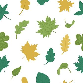 Бесшовный узор вектор с осенними листьями. плоский стиль повторить фон с осенней зеленью