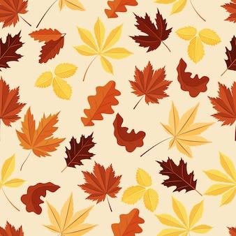 주황색 빨간색 갈색과 노란색 색상의 단풍이 있는 벡터 원활한 패턴