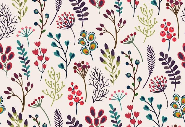 Бесшовный узор вектор с элементами осенней природы, осенью красивые яркие листья, цветы, ветви, ягоды. красочный бесконечный фон.