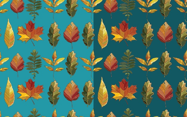 Vector seamless pattern with autumn set leaves. background with  aspen; alder; elm; willow; maple; oak; potentilla.
