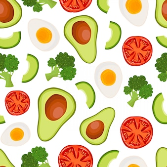 Vector seamless pattern with avocado, broccoli, tomato, egg