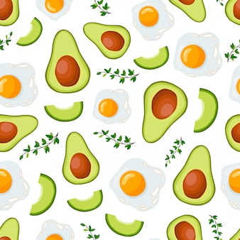 Vector seamless pattern with avocado and egg