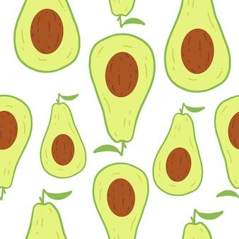 アボカドフルーツとシームレスなパターンをベクトルします。