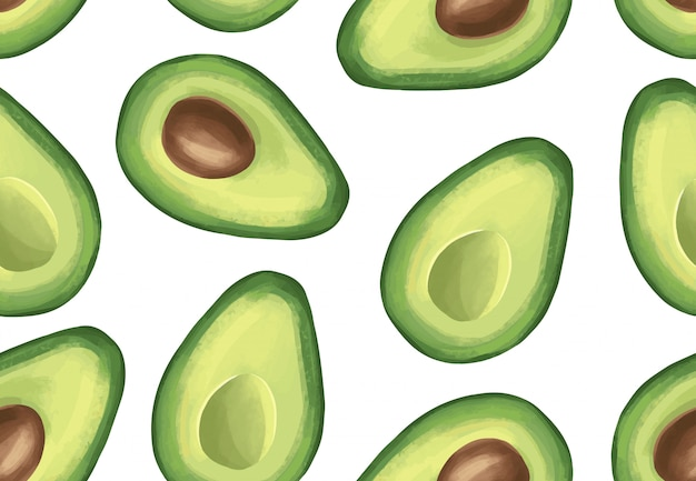 Vector seamless pattern with avocado. tropical exotic fruit.