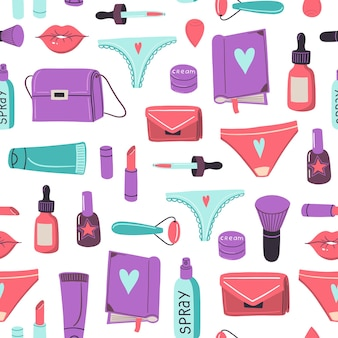Vector seamless pattern with bags cosmetics girls different items and stuff feminism concept