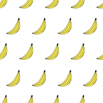Vector seamless pattern with banana repeating fruit icon on white