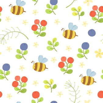 Vector seamless pattern with bees and berries