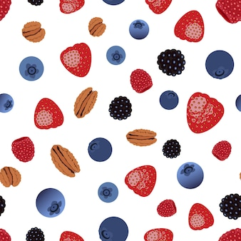 Vector seamless pattern with berries and  nuts.