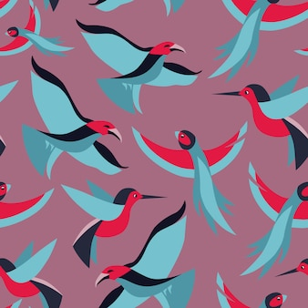 Vector seamless pattern with birds in flat retro style