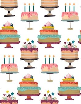 생일 파티 축 하 케이크와 벡터 원활한 패턴