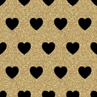 Vector seamless pattern with black hearts on gold texture. shiny sparkling background with glitter