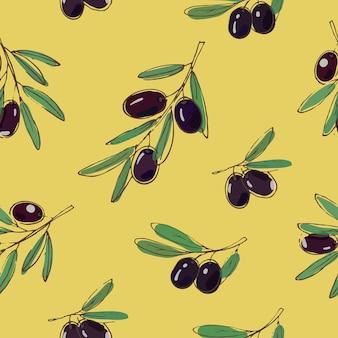 黄色の背景に黒いオリーブとシームレスなパターンをベクトルします。