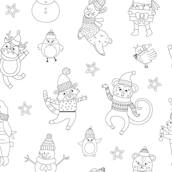 Vector seamless pattern with black and white christmas characters. repeating background with santa claus, funny animals, snowman. cute winter digital paper for decorations or new year design.