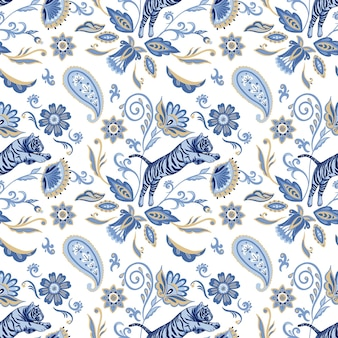 Vector seamless pattern with blue nordic tigers and abstract asian flowers and leaves
