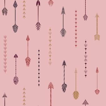 自由奔放に生きる矢印と幾何学的要素でシームレスなパターンをベクトルします。
