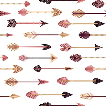 Vector seamless pattern with boho arrows in the flat style.