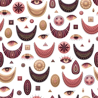 Vector seamless pattern with boho illustrations. bohemian background in the flat style.