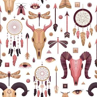 自由奔放に生きるイラストとシームレスなパターンをベクトルします。フラットスタイルのボヘミアン背景。
