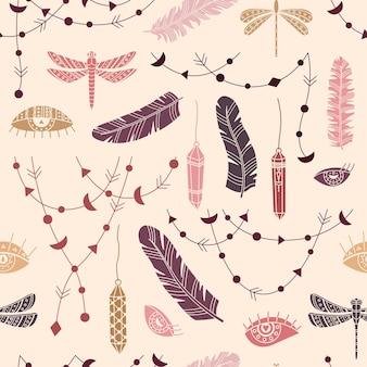 自由奔放に生きるイラストとシームレスなパターンをベクトルします。シンプルなスタイルのボヘミアンな背景。