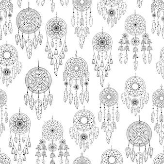 自由奔放に生きるイラストとシームレスなパターンをベクトルします。ボヘミアンな背景。線画、アウトライン。