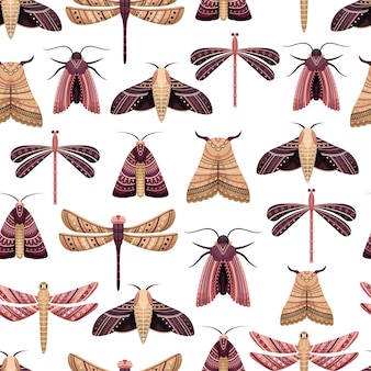 Vector seamless pattern with boho moths and dragonflies.