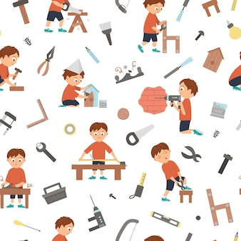 Vector seamless pattern with boys doing carpenter, building or wood work and tools. flat funny kid character repeating background. craft lesson digital paper