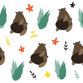 Vector seamless pattern with brown bears.