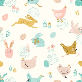 부활절 및 다른 용도로 토끼와 닭고기와 벡터 원활한 패턴