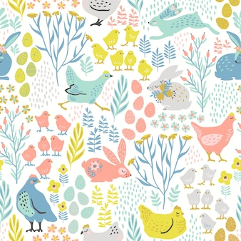 Vector seamless pattern with bunnies and chicken for easter and other use
